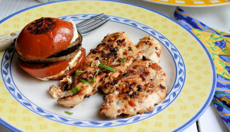 Chilli Peppered Chicken Steaks With Mediterranean Goat's Cheese Vegetable Stacks